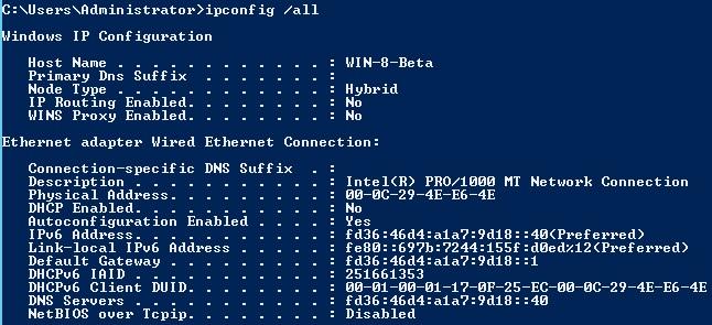 IPConfig IPv6